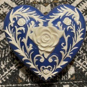 Vanity tray Floral cameo trinket dish heart shape